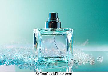 botella del perfume, con, cristales