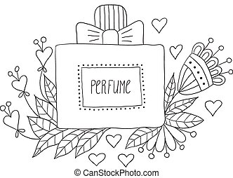 botella del perfume, con, flor, patterns.