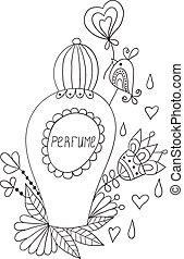 botella del perfume, con, flor, patterns.