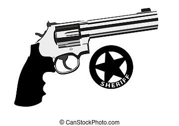 botella doble, revólver