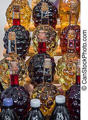 botella, en, el, forma, de, uvas