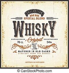 botella, etiqueta, whisky, vendimia