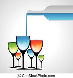 botella, gafas vino