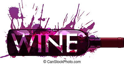 botella, hecho, salpicaduras, colorido, vino