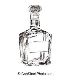 botella licor, bosquejo, icono