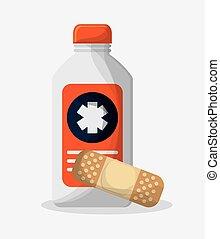 botella medicina, de, atención médica, diseño
