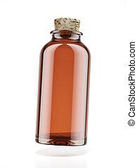 botella medicina, de, marrón, vidrio