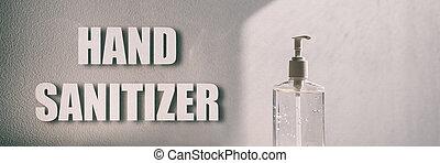 botella, medidas, virus, -, sanitizer, mano, gel, sanitiser, apropiado, retener, panorámico, frotación, bandera, corona, manos, prevención, higiene, limpio, covid-19, alcohol, plano de fondo, señal, texto
