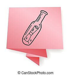 botella, mensaje, garabato