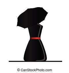botella, mujer con paraguas, ilustración