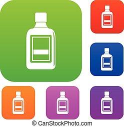 botella plástica, conjunto, color, colección