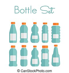 botella plástica, conjunto, -, plano, iconos