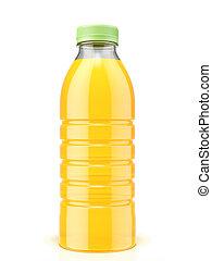 botella plástica, de, jugo de naranja