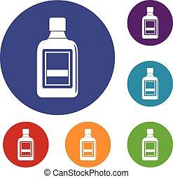 botella plástica, iconos, conjunto