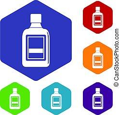 botella plástica, iconos, conjunto, hexágono