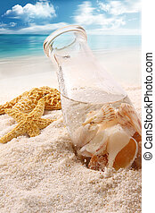 botella, playa, conchas