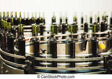 botella, relleno, línea