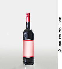 botella, rojo, vino