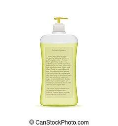 botella, vector, ilustración, líquido, jabón