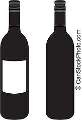 botella, vector, vino