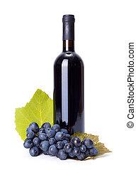 botella vino rojo, con, azul, uva, grupo