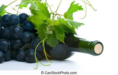 botella vino rojo, con, grapeleaf, y, uva