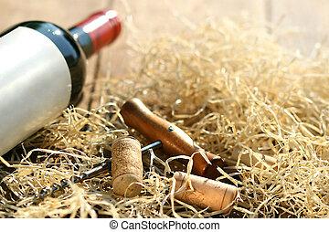 botella vino rojo, con, sacacorchos