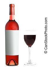 botella vino rojo, con, vidrio, blanco, plano de fondo