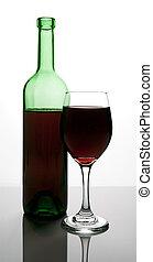 botella, vino rojo