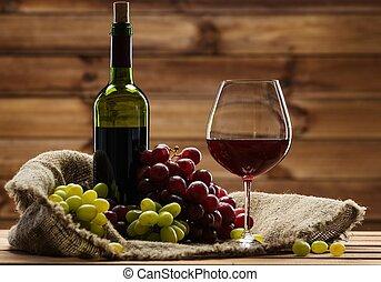 botella vino rojo, vidrio, y, uva, en, un, saco, en, de...