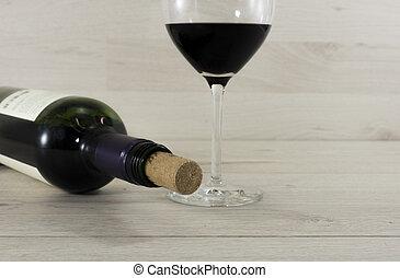 botella, vino rojo, y, vidrio
