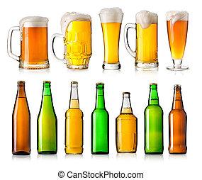botella, y, copa de cerveza