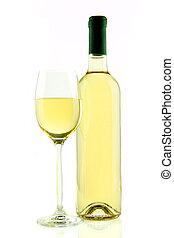 botella, y, copa de vino blanco, aislado