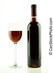 botella, y, copa de vino tinto, aislado
