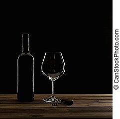 botella, y, sacacorchos, en, un, tabla de madera