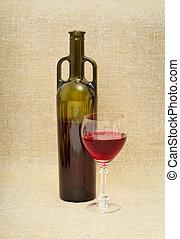 botella, y, vidrio, con, vino rojo