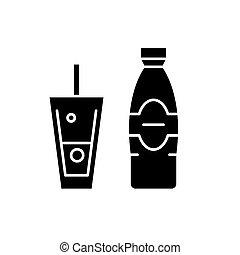 botella, y, vidrio, de, agua mineral, negro, icono, vector, señal, en, aislado, fondo., botella, y, vidrio, de, agua mineral, concepto, símbolo, ilustración