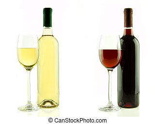 botella, y, vidrio, de, blanco, y, vino rojo, aislado