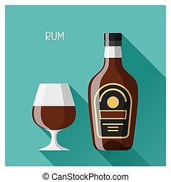 botella, y, vidrio, de, ron, en, plano, diseño, estilo