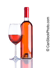 botella, y, vidrio, vino rosado, blanco, plano de fondo