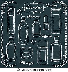 botellas, 2, conjunto, pizarra, cosmético