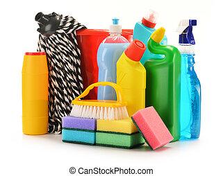 botellas, aislado, químico, detergente, white., suministros, limpieza