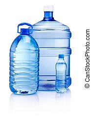 botellas, bebida, aislado, plástico, agua, plano de fondo, blanco