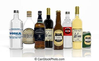 botellas, bebidas alcohólicas, aislado, colección, plano de...