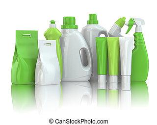 botellas, casa, químico, detergente, supplies., limpieza