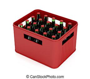 botellas, cerveza, lleno, cajón