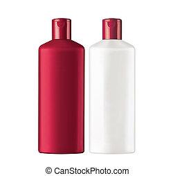 botellas, champú, aislado, plástico, plano de fondo, blanco