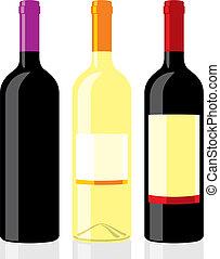 botellas, clásico, vino, forma
