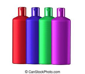 botellas, colorido, champú, aislado, plástico, plano de fondo, blanco