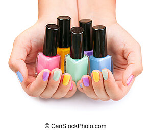 botellas, colorido, clavo, polish., polaco, manicure.